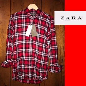 ZARA Long Sleeve Relaxed Fit Flannel Shirt Size S